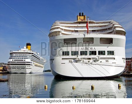Stavanger, Norway - June 5, 2009: The cruise ships AURORA and Costa Magica have moored at Skagenkaien Pier in the port of Stavanger (Norway).