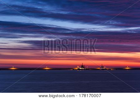 SUNRISE IN SWINOUJSCIE - Colorful dawn over the sea port