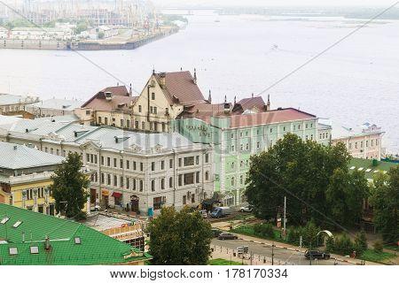 Nizhny Novgorod Russia in summer 2016. The confluence of the rivers Volga and Oka.