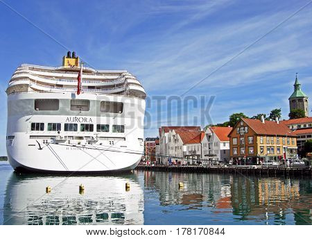 Stavanger, Norway - June 5, 2009: The cruise ship AURORA by P&O Cruises has moored at Skagenkaien Pier in the port of Stavanger (Norway).