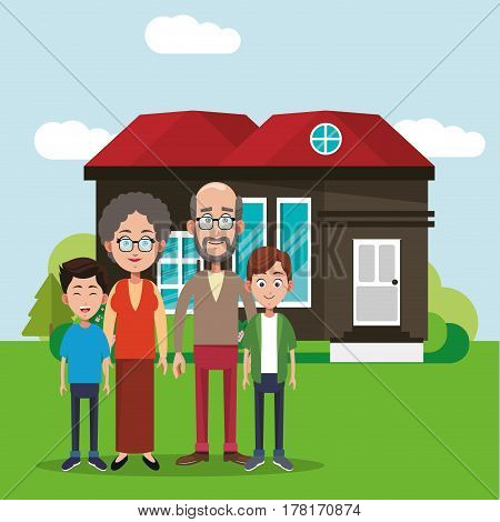 family members house image vector illustration eps 10