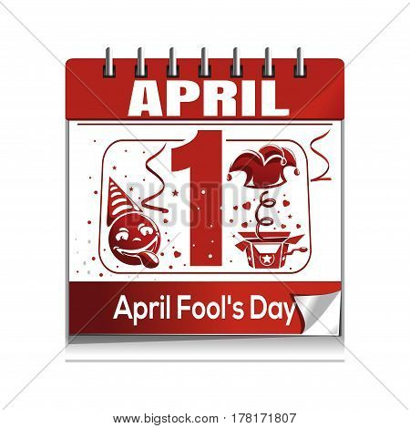 Calendar with the date of 1st April. April Fool's Day calendar isolated on white background. Fool's Day calendar icon. Vector illustration