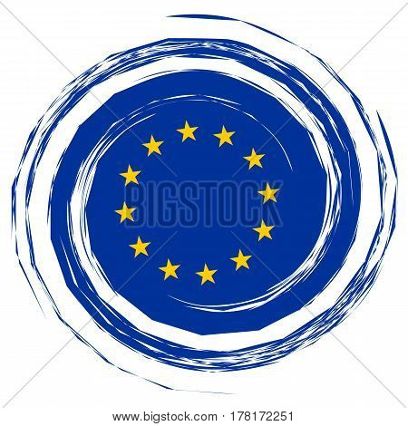 Europe Politics: Blue EU Flag Whirlpool illustration on white background