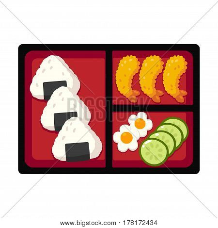 Traditional Japanese bento box lunch with rice onigiri and tempura shrimp cucumber and egg. Vector illustration.