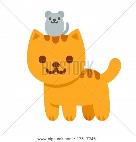Cartoon cat and mouse vector illustration. Ginger kitten with little mouse cute animal friends.