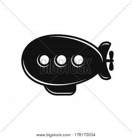 Retro airship vector icon. Stylized black zeppelin isolated on white background