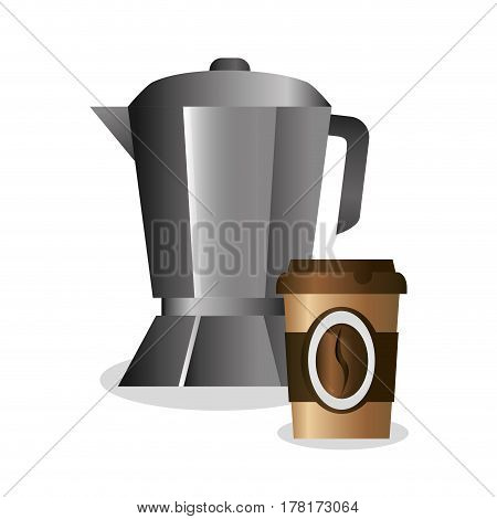 coffee maker and paper cup vector illustration eps 10