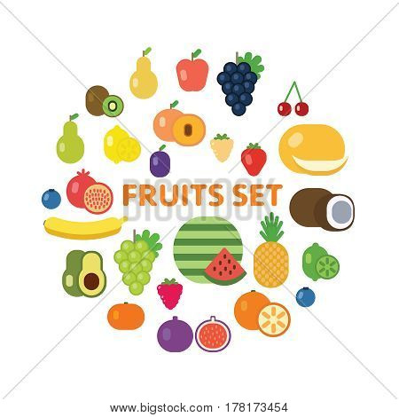 Vector flat design fruits and berries icon set eps10 illustration