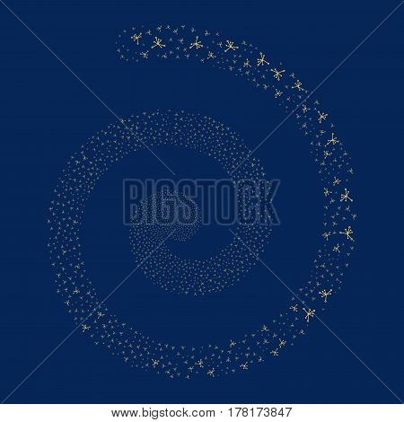 Big Bang fireworks vortex spiral. Vector illustration style is flat yellow scattered symbols. Object whirlpool constructed from random pictograms.