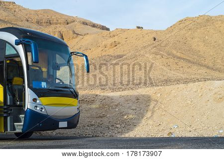 Beautiful Bus In The Desert. Yellow Bus In Egypt.