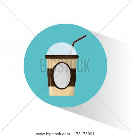 cold coffee cup portable straw vector illustration eps 10