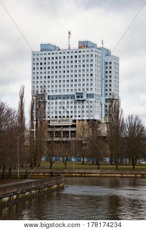 KALININGRAD, RUSSIA - MAR 21, 2017: The house of Soviets - a famous unfinished building in the city centre of Kaliningrad, the construction of which began in 1970. The main