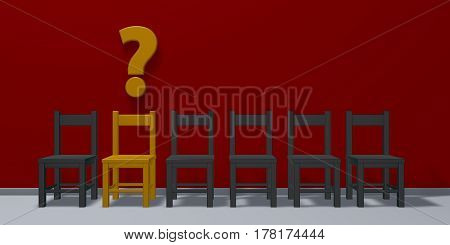 row of chairs one in yellow and question mark - 3d illustration