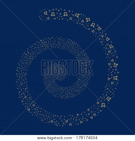 Buzzer fireworks whirlpool spiral. Vector illustration style is flat yellow scattered symbols. Object whirlpool constructed from scattered icons.