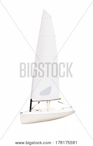 Study small sailboat isolated on white background