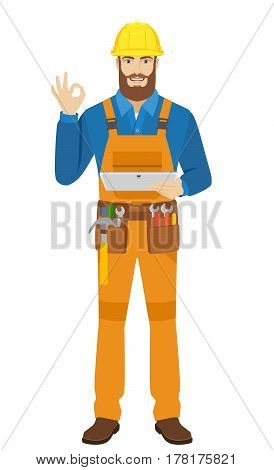 Worker holding digital tablet PC and showing a okay hand sign. Full length portrait of worker in a flat style. Vector illustration.