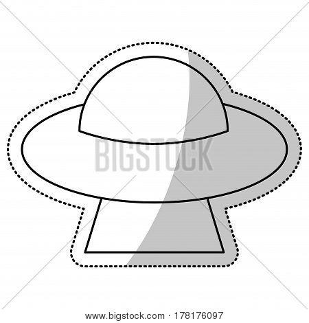 UFO saucer space flying outline vector illustration eps 10