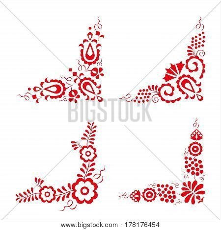 Set of four traditional folk ornaments hungarian decorative pattern red embroidery isolated on a white background vector illustration