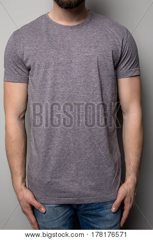 Close Up Of Man In Grey T-shirt