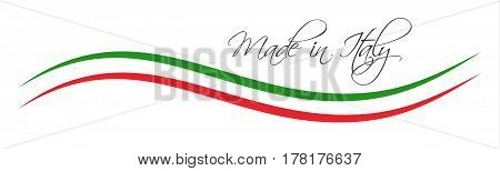 Made in Italy symbol colored ribbon with the Italian tricolor