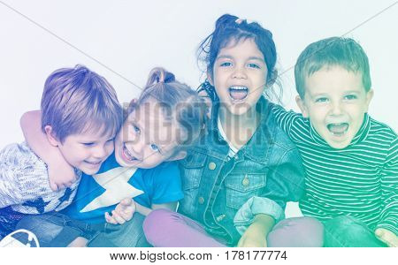 Group of kids having fun smiling together