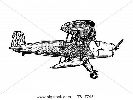 Vector black and white hand drawn illustration of vintage biplane. Airplane isolated on white background. Side view.
