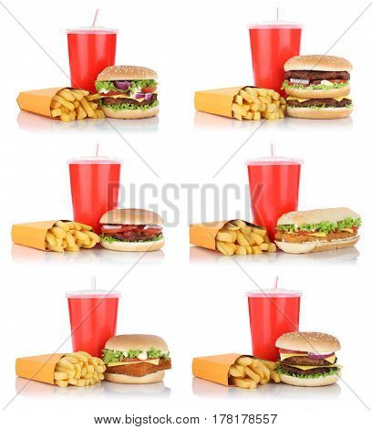 Hamburger Collection Set Cheeseburger And Fries Menu Meal Combo Fast Food Drink Isolated