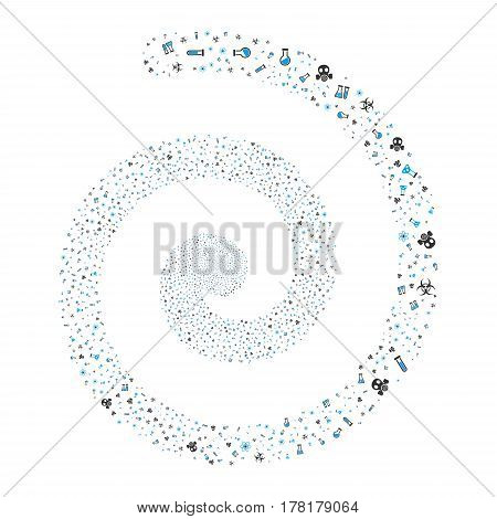 Chemistry Symbols fireworks whirl spiral. Vector illustration style is flat bicolor blue and gray scattered symbols. Object helix constructed from random pictograms.