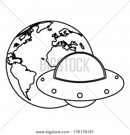 earth world UFO image outline vector illsutration eps 10