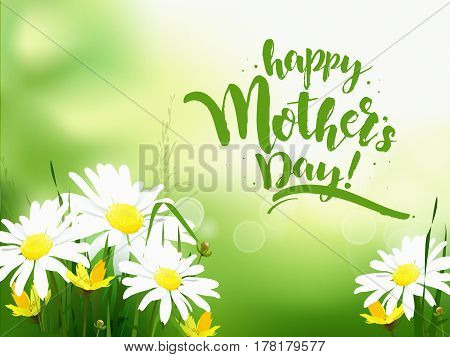 Happy Mothers Day lettering. Mothers day greeting card with Blooming Dasy. Vector illustration