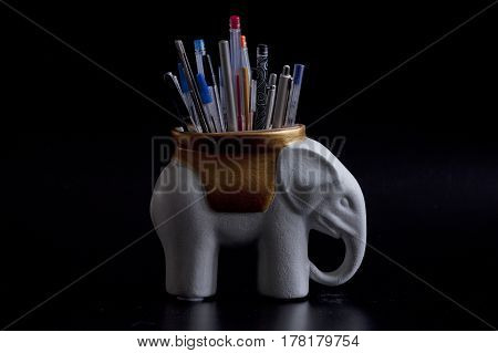 creative stationery Elephant holder pencils and pens still life