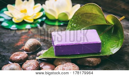 Lavender Soap In Water Background
