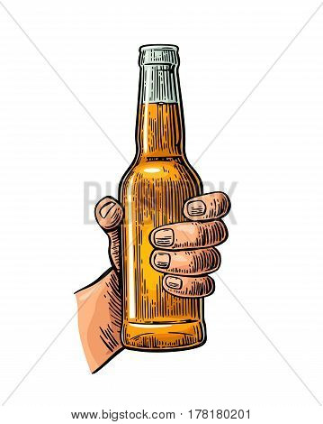 Male hand holding a open bottle beer. Color vintage engraving vector illustration isolated on white background