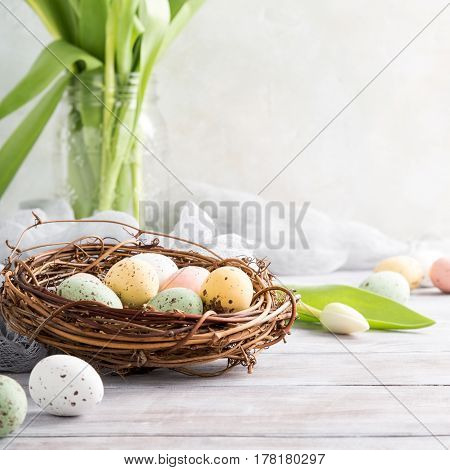 Easter composition of colorful quail eggs in the nest and white tulips on the light wooden background. Holiday concept with copy space.