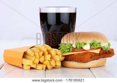 Fish Burger Fishburger Hamburger And Fries Menu Meal Combo Cola Drink Unhealthy Eating