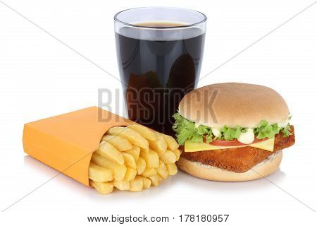 Fish Burger Fishburger Hamburger And French Fries Menu Meal Combo Cola Drink Fast Food Isolated