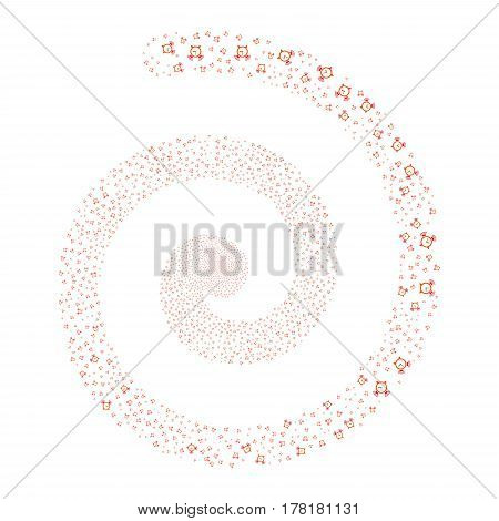 Buzzer fireworks whirl spiral. Vector illustration style is flat bicolor intensive red and orange scattered symbols. Object swirling created from random pictograms.