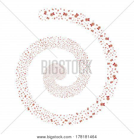 Certificate Seal fireworks whirl spiral. Vector illustration style is flat bicolor intensive red and orange scattered symbols. Object whirl combined from scattered design elements.