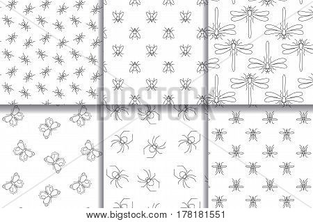 Insects seamless patterns collection. Textile, wrapping paper insects  backgrounds collection.