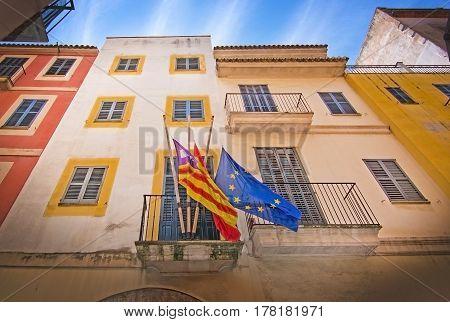 Balearic, Spanish And Eu Flags