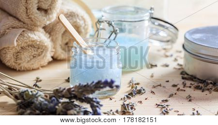 Moisturizing Creams And Lavender On Wooden Background