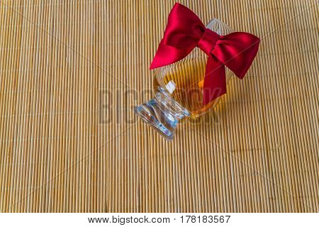 Top View For A Glass Of Whiskey Single Malt, Red Bow, Smartwatch