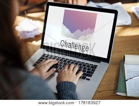 Illustration of challenge on laptop