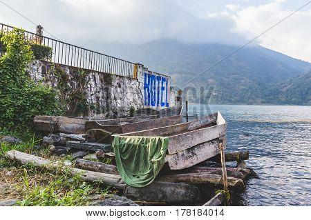Boat Dock And Shore At Lake Atitlan, Guatemala