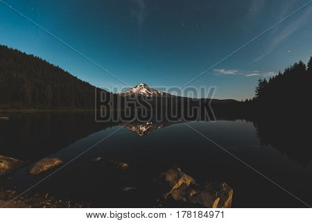 Mount Hood Reflecting On Trillium Lake