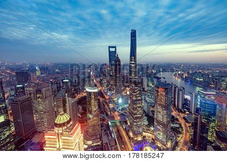 Aerial view of Shanghai city center at sunset time. China.