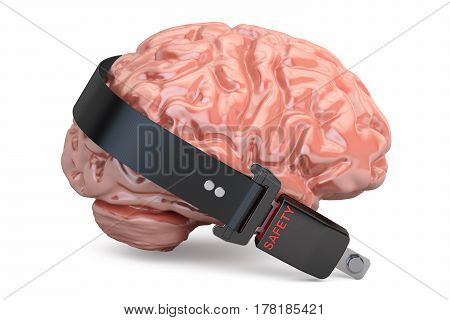 Brain with seatbelt 3D rendering isolated on white background