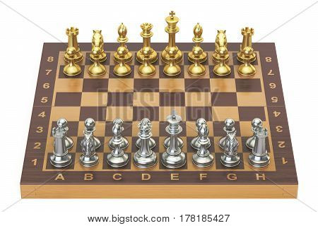 Chess board with gold and silver figures top view. 3D rendering