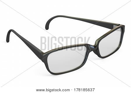 eyeglasses closeup with black frame 3D rendering isolated on white background