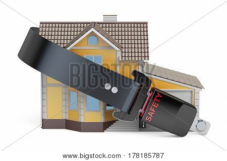 Home security protection and insurance concept house with seatbelt. 3D rendering